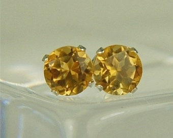 Memorial Day Sale Citrine Earring Studs Sterling Silver 5mm Round .95ctw