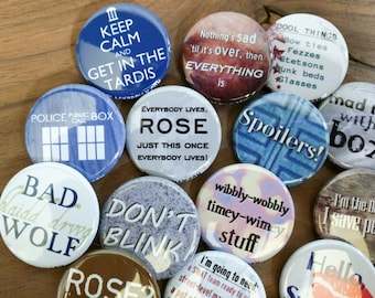 """Doctor Who  buttons 1.25"""" / 32mm pin back button/badge"""
