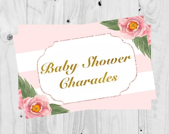 Baby Shower Game, Baby Shower Charades, Girl, It's a girl, Floral - PRINTABLE