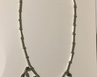 """Vintage sterling silver feather Indian necklace 18"""" 18.9 g"""