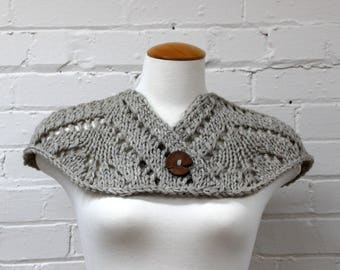 Lacy Cape Shawl | Chunky Knit Shawl | Hand Knit Cape | Shoulder Wrap | Hand Knit Shawl