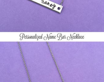 Personalized Name Bar Necklace, Custom Hand Stamped Necklace, Personalized Gift, Name Necklace, Skinny Bar, Bridesmaid Gift For Her