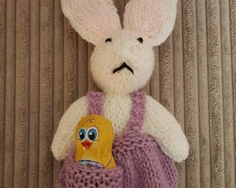 Knitted rabbit, knitted keepsake, knitted decoration, Easter rabbit,
