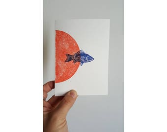 Orange Sunrise linogravee fish card