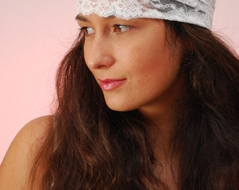 White lace headband, Summer Festival Headband, boho hair decoration, stretchy hair bands, Ibiza wedding accessories, beach wedding