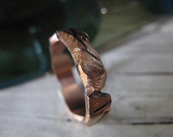 14K Rose Gold Mens Wedding Band Carved Mens Wedding Ring Unique Mens Wedding Band Viking Wedding Ring Rustic Mens Wedding Bands Viking Mens