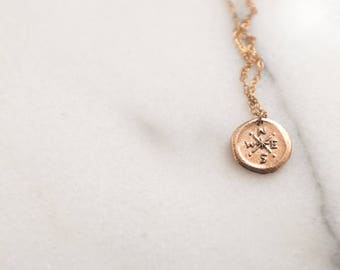 Bronze Compass Necklace Wax Seal Pendant Gold Colour Coin