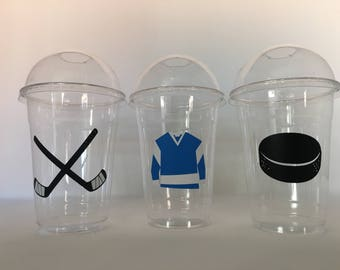 Hockey Party Cups, Hockey Birthday Party Cups, Hockey Baby Shower Cups, Hockey Party Favors