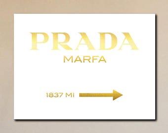 Prada Marfa Canvas Print Gold on White - GOSSIP GIRL