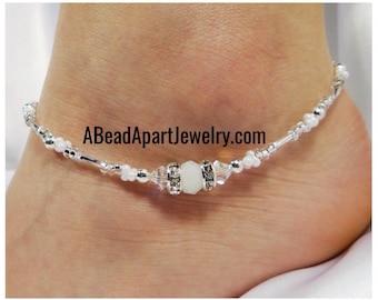 Anklet Ankle Bracelet White Anklet Crystal Anklet Silver Anklet Wedding Anklet Summer Anklet Beach Anklet Bride Anklet Vacation Anklet
