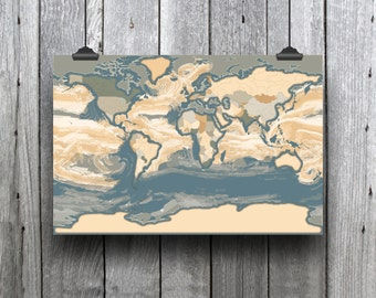 Instant download printable world ocean currents 2 world map instant download printable world ocean currents art map world map poster as a gumiabroncs Choice Image