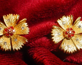 Vintage Tiny Shiny Gold Floral Earrings
