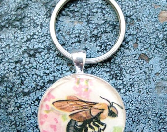Vintage Bumble Bee Watercolor Illustration Silver and Resin Keychain/Pendant from 1960 Children's Insects We Know Book