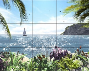 Tile Mural Backsplash or Wall Decor' Tropical View of the Ocean-Ceramic 18 x 30