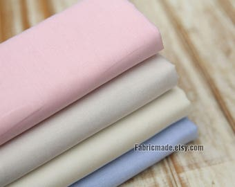 Off White Pink Blue Cotton Fabric, Oxford Cotton Fabric For Summer Clothing - 1/2 yard