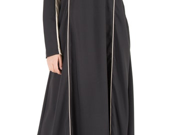 NEW ELEGANT BLACK  contrast abaya/jilbab/dress