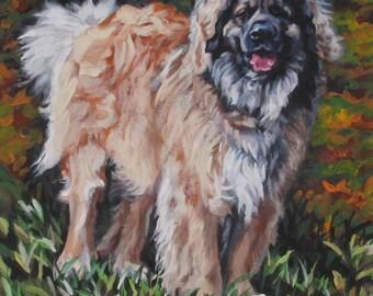 """LEONBERGER dog portrait art canvas PRINT of LA Shepard painting 8x8"""""""