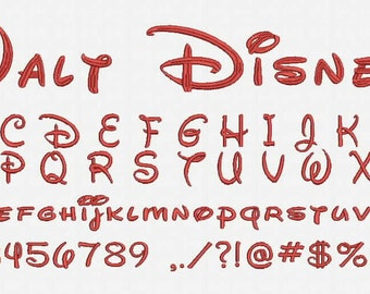 Walt Disney Font A-Z and 0 -9 Embroidery Design Now Come with .BX Ready Font!