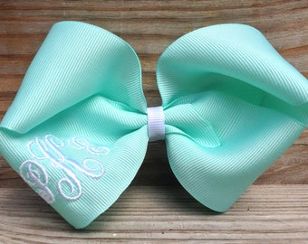 Monogrammed Large Boutique Hair Bow - 17 Colors Available