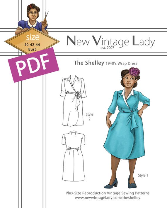 1940s Sewing Patterns – Dresses, Overalls, Lingerie etc The Shelley 1940s wrap dress in PDF size 40-42-44 bust NVL plus size multi size repro vintage sewing patternsThe Shelley 1940s wrap dress in PDF size 40-42-44 bust NVL plus size multi size repro vintage sewing patterns $20.00 AT vintagedancer.com