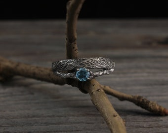 Tree bark topaz engagement ring, Branch silver wedding band, Birthstone ring, Unusual womens engagement ring, Unique gift for her