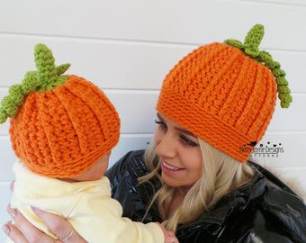 PUMPKIN HAT Crochet Pattern Halloween Hat pattern Pumpkin Hat Crochet pattern - Beginner Friendly pattern - Halloween costume Women Children