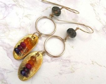 Rainbow Gemstone Earrings- Gold Filled with Smoky Quartz