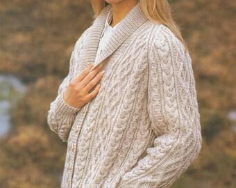 Womens Aran Raglan Jacket PDF Knitting Pattern : Ladies 32, 34, 36, 38, 40 and 42 inch chest . Patterned Cardigan . Digital Download