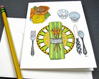 Thanksgiving Stationery Set - Set of 8 Blank Inside Card Set - Fall Place Setting Thanksgiving notecards
