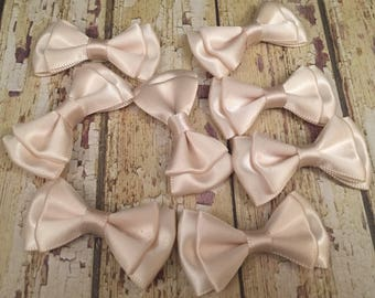 6 Champagne Satin Bows, Wedding Bows, Taupe Wedding, Tuxedo Bows, DIY Scrapbook Bows, Champagne Embellishment, Champagne Double Bows