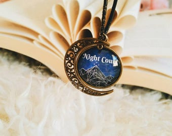 Night Court Pendant Moon Necklace, ACOMAF, ACOTAR, Velaris, night court, nightcourt, Feyre, Rhysand, Feysand, Rhys