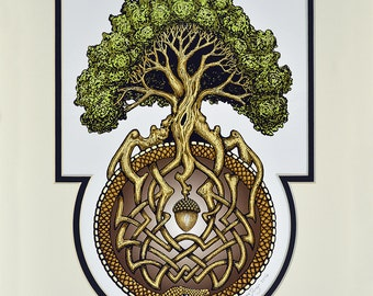 Ouroboros Tree- Digital Art Print -  Arbor - Great Oak - Acorn - Irish art - yggdrasil - norse - oroboros - uroboros - alchemy - Jörmungandr