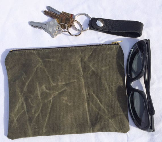 Waxed Canvas Zippered Pouch Purse 9b208cd087802