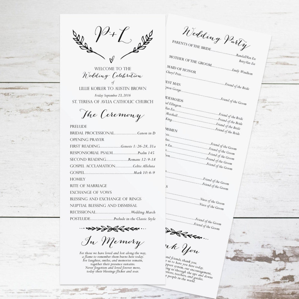 Rustic Wedding Program Template Rustic Wedding Programs