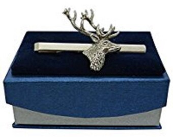 Handcast Pewter Stag Tie Clip
