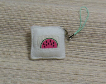 Wearable jewelry white felt square watermelon