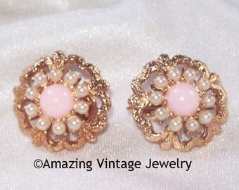 SALE 8.00  Sarah Coventry ANGEL PINK Earrings - Vintage 1973