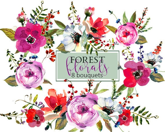 Purple Watercolor Flowers Clipart Set Wedding Floral Bouquets
