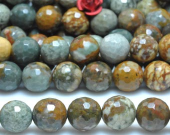 47 pcs of Natural USA Rocky Butte Jasper faceted round beads in 8mm (07368#)