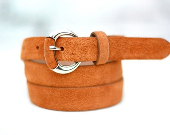 Free shipping! Woman belt, leather belt, orange belt, orange leather belt, suede belt, woman belt, dress belt, leather waist belt