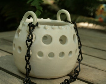 Unique Handmade Home Decor- Ilumet in a Creamy Matt White Glaze and  can be used indoors or out