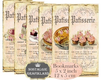 Patisserie Bookmarks Instant Download digital collage sheet E178 Vintage Confiserie Paper
