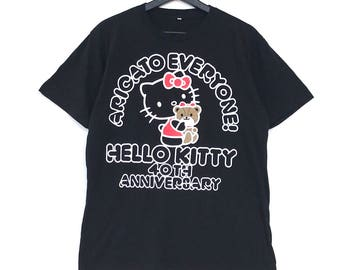 HELLO KITTY Arigato Everybody Cartoon Tee Tshirt White Colour Medium Size
