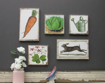 "Urban Farmhoues wall art -farm to table - home decor - a 5 piece wall collage - ""Garden Romp ""- colorful flair"