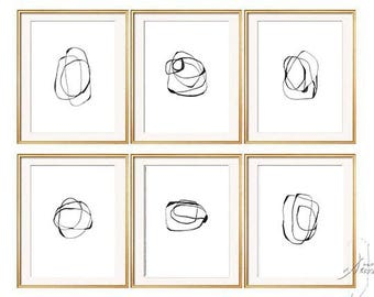 Set of 6 Black White Abstract Art, Set of 6 Prints, Abstract Art, Minimalist Art, Black White, Large Print, Modern Art, Abstract Print Set