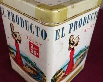 Vintage collectible metal EL PRODUCTO metal advertising tin.