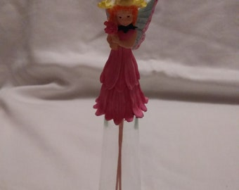 Pink Fairy Winged Glass Fluted Bell