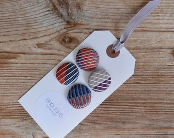 Covered Buttons - Handwoven Fabric