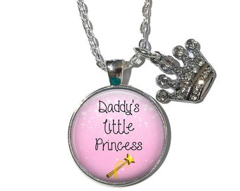 Daddy's Little Princess Necklace or Key Chain with Rhinestone Crown Charm - Little Girl, Daughter, Tiara, Daddy's Girl, Daddy's Princess
