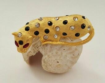 Jeweled Leopard Pin